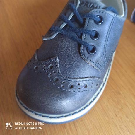 Primigi 19 skóra buty buciki sznurowane retro granat