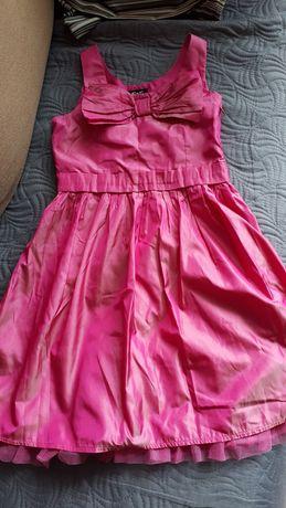 Różowa satynowa sukienka 128 cm