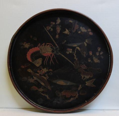 Prato madeira chinesa/Japão lacado decorado com peixe e lagosta-40cm