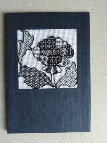 Kartka z życzeniami, ozdobiona haftem