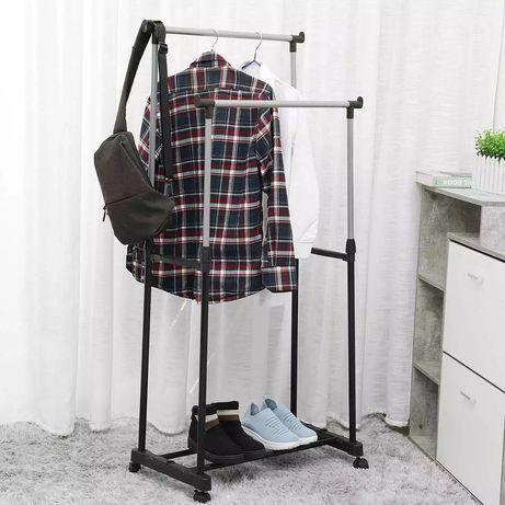 Телескопическая стойка-вешалка для одежды - Double Pole Двойная
