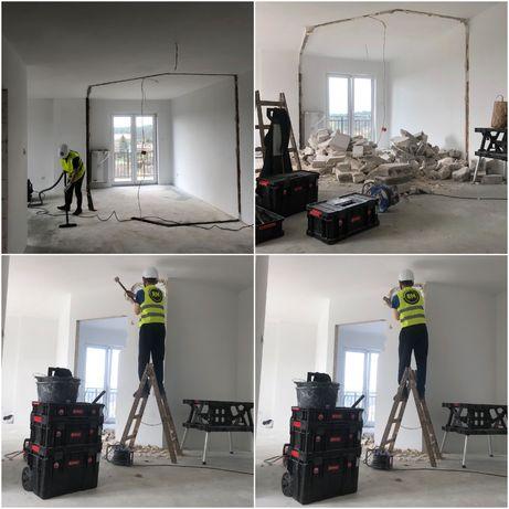 Wyburzenia skuwanie betonu tynku rozbiórki kłucie ścian remont eternit