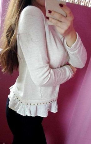 Sweter z falbaną u dołu Bershka bluza rozmiar XS S