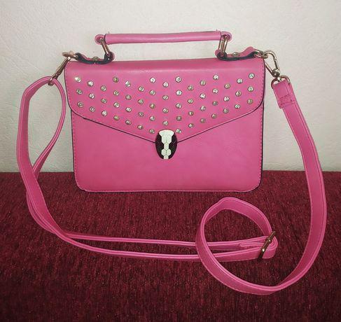Женская сумка через плечо, розовый клатч