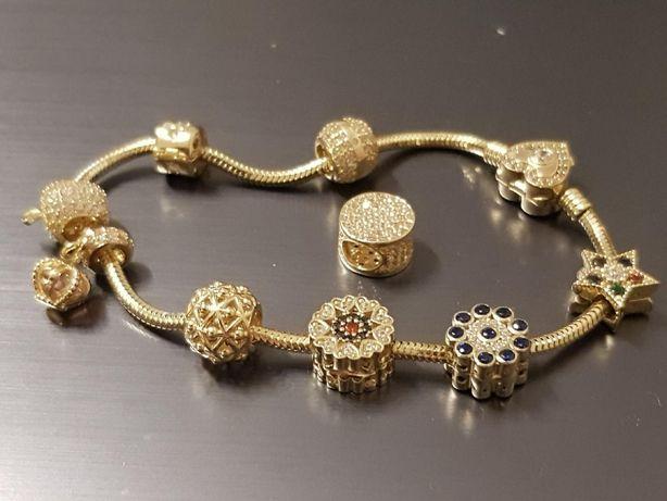 Przepiękna damska złota bransoletka zawieszki pandora 585 14k prezent