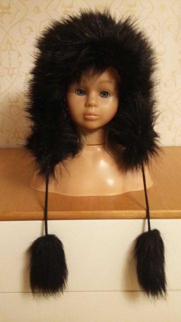 Czapka zimowa futrzana w kolorze czarnym