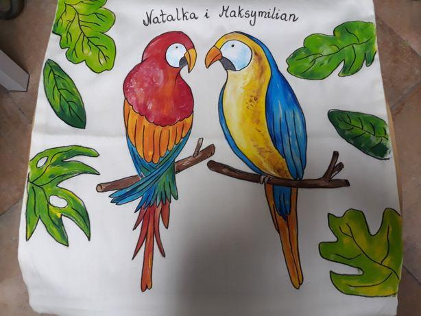 Poduszka ręcznie malowaną papugi