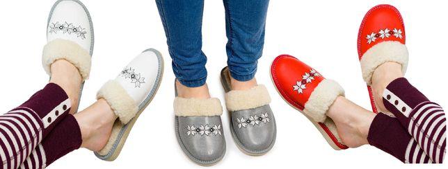 Kapcie damskie skóra pantofle do domu kapcie