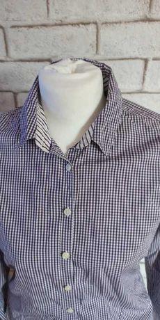 Pięknie skrojona koszula w nietuzinkową, fioletową kratkę r. 38, M