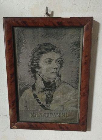 Antyk Kościuszko obrazek z materiału w drewnianej ramce