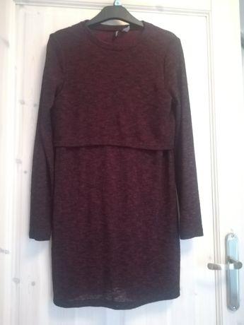 Bordowa burgundowa dzianinowa sukienka z wycięciem na plecach H&M 34 x