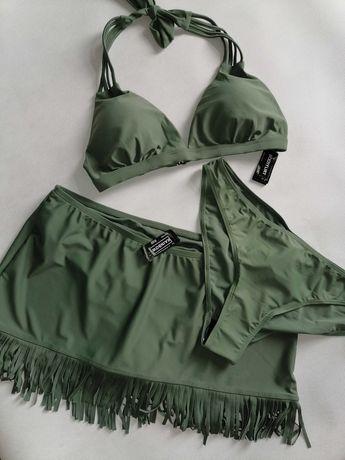 Bikini komplet biustonosz+figi+spódniczka  38M/40L