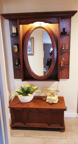Komplet drewniany: lustro + szafka