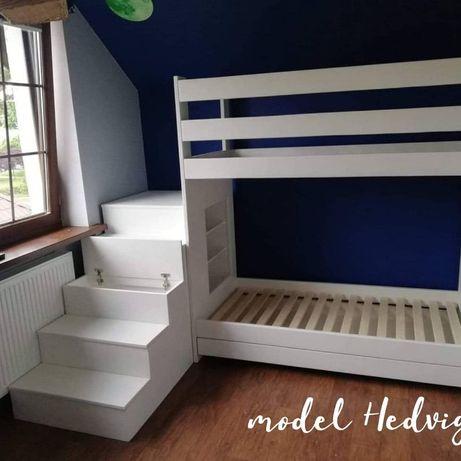 Łóżko piętrowe drewniane domek