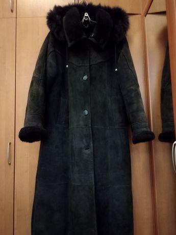 Дублёнка женская длинная, темно-синяя RENK collection, размер L
