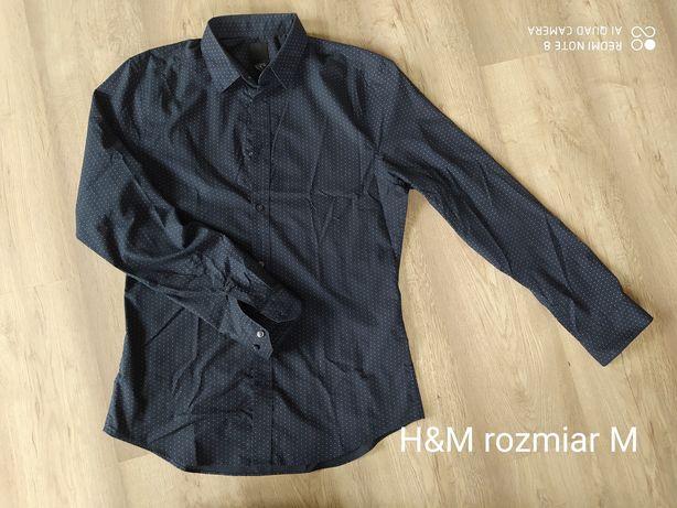 czarna koszula w kropki H&M rozmiar M