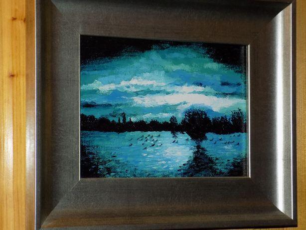 Obraz olejny w grubej ramie 28x34