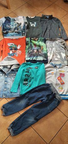 Paczka ubrań 110/122 sweterki bluzy spodnie