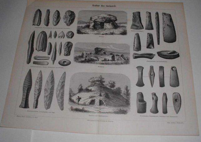 ARCHEOLOGIA - ŚREDNIOWIECZE oryginalna XIX w. grafika do wystroju