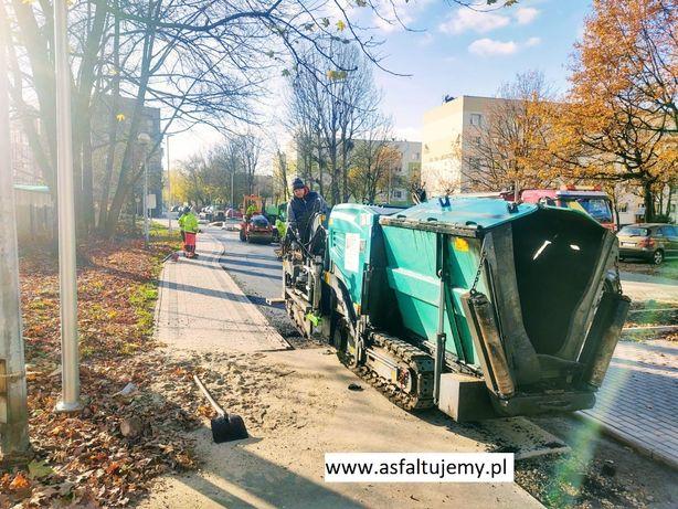 Asfaltowanie Ścieżki rowerowe mały rozściełacz układarka chodnikowa