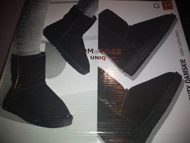 Buty skórzane ocieplane  34 nowe