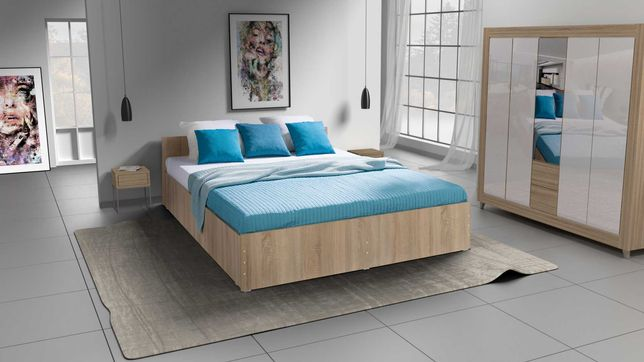 Łóżko Sypialniane Nowe Stelaż + Materac komplet 4 kolory