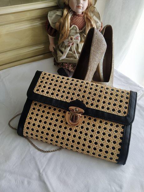 Клатч, сумка с соломенным плетением