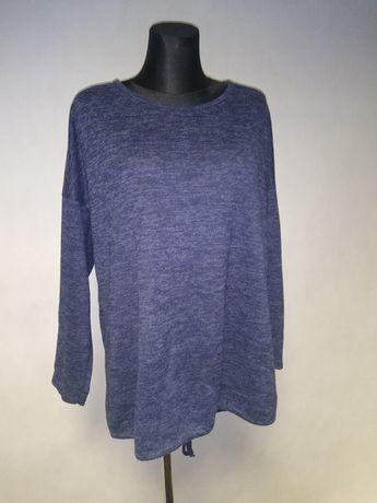 Sweter, bluza z haft na plecach 46, 48 granat wiązana