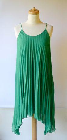 Sukienka H&M S 36 Zielona Plisowana Asymetryczna Plisa Zara Reserved