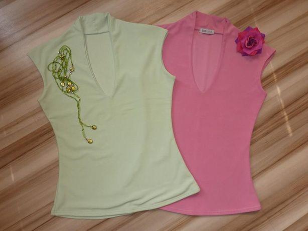 Bluzki Bluzka Top Różowa Zielona Pistacjowa S M