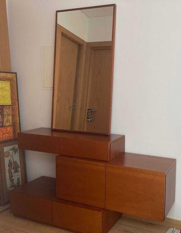 Movel + Espelho de Hall de Entrada - Madeira maciça