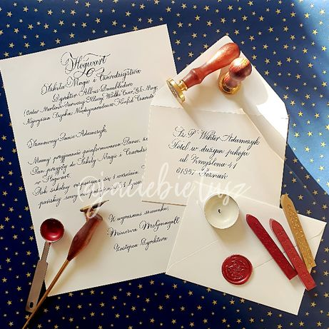 List z Hogwartu ręcznie kaligrafowany, personalizowany - Harry Potter