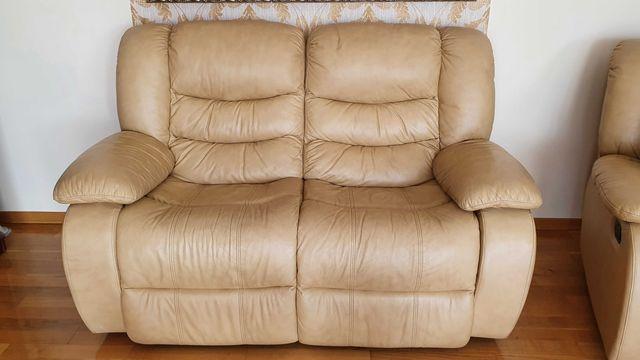Skórzana sofa + 2 fotele z funkcją relax
