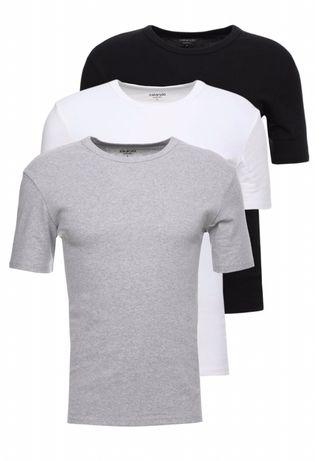 3 PACK Koszulki Zalando Essentials rozmiar S szary/biały/czarny