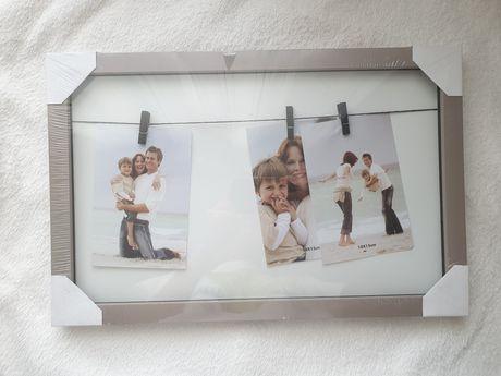 Ramka na 3 zdjęcia 10×15cm na klipsach spinaczach na sznurku
