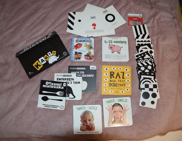 Zestaw książeczek dla niemowląt - kontrastowe + karty