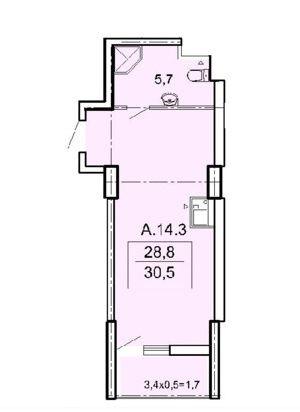 Студия, на 5-й станции Б.Фонтана, ЖК Акрополь, 25000 у.е.
