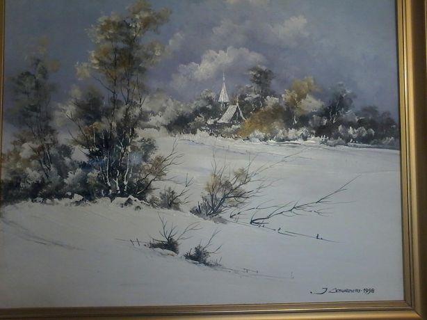 Obraz olejny Cztery pory roku ,, zima ,pędzla J, Cetnarowskiego