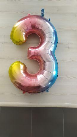 Balon cyfra 3 urodzinowy