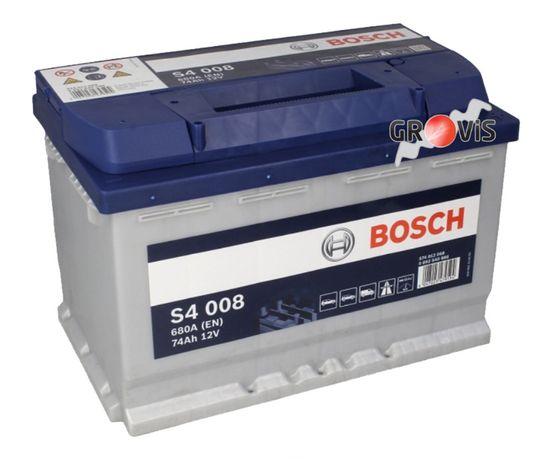 Akumulator bezobsługowy BOSCH S4 12V 74Ah 680A P+ S4-008 MontażDostawa