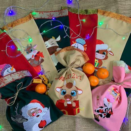 Подарункові новорічні торбинки