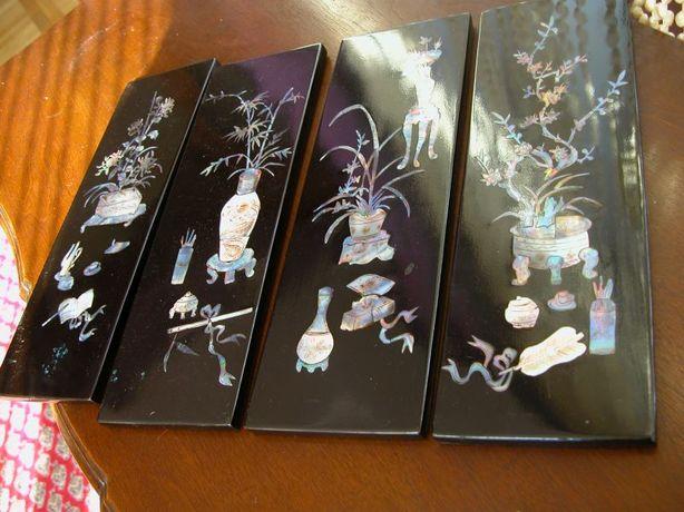 kolekcjonerskie panele- obrazy z laki i masy perłowej rękodzieło
