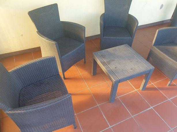 Zestaw mebli ogrodowych 4 fotele krzesła mini stolik technorattan