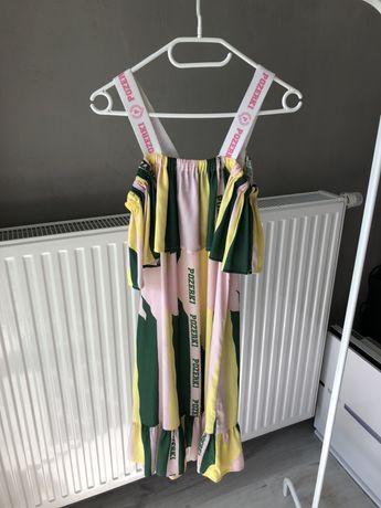Pozerki piękna kolorowa sukienka z logo S/M