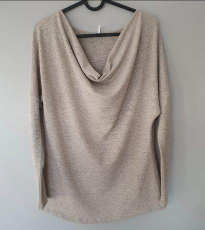 Nowa Beżowa dzianinowa bluzka cienki sweter beżowy melanż s 36