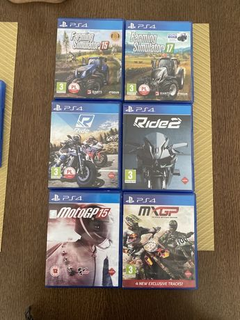 PlayStation Ps 4 Ride 1, 2, Moto GP 15, MX GP Farming Simulator 15, 17