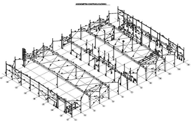 Konstrukcja stalowa hali 60x40m 2400m²
