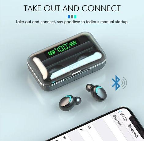 Head phone 9D estéreo por Bluetooth e Power Bank