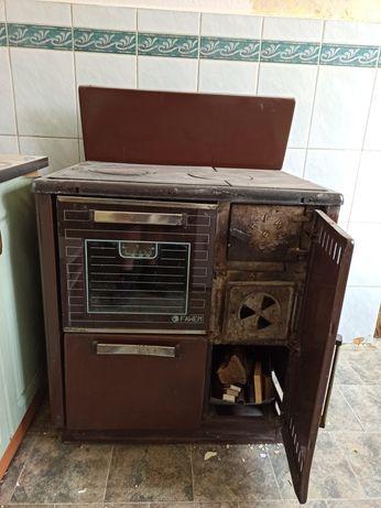 Piec kuchenny z piekarnikiem na drewno/węgiel