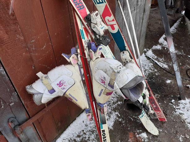 2 pary nart z butami 140 i 160 cm dla dzieci
